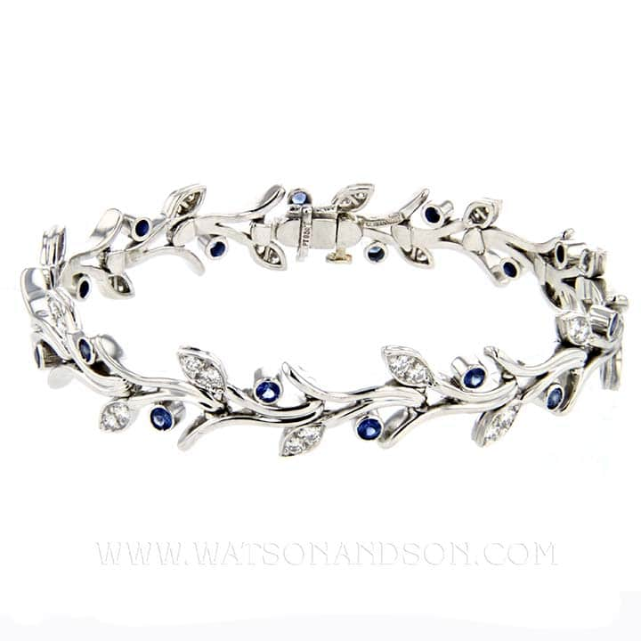 eac4c3790a628 Platinum Tiffany & Co Platinum Sapphire and Diamond Garland Bracelet