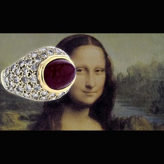 Cabochon Ruby And Diamond Dome Ring 3