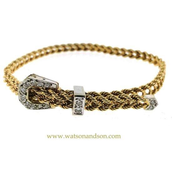14K Diamond Buckle Bracelet 1