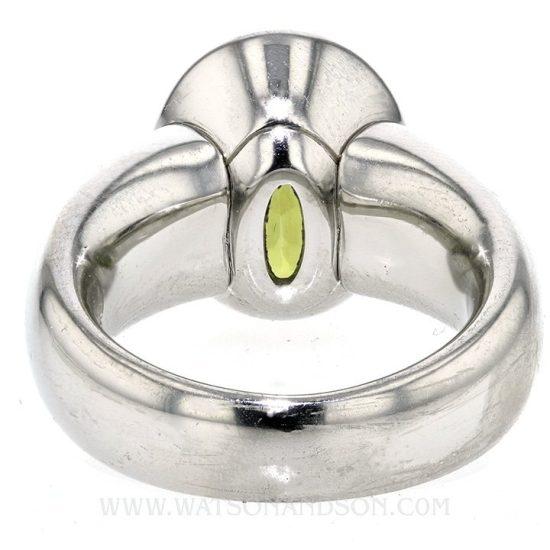 Platinum Green Garnet Ring 3