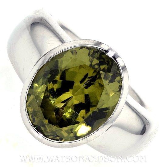 Platinum Green Garnet Ring 4