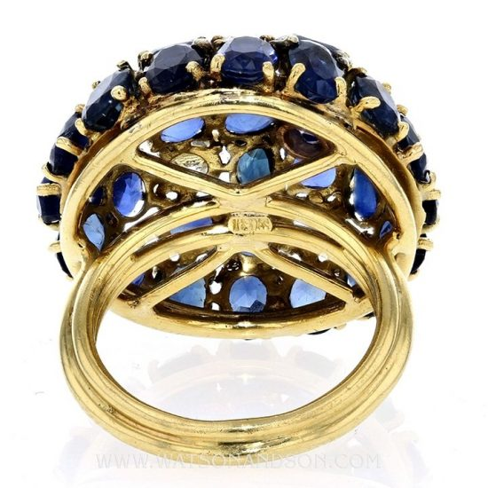 Sapphire And Diamond Dome Ring 4