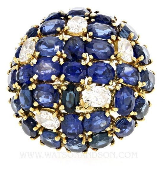 Sapphire And Diamond Dome Ring 2