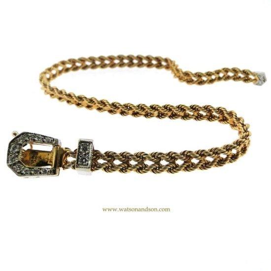 14K Diamond Buckle Bracelet 3