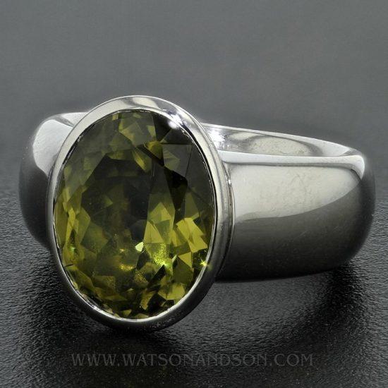 Platinum Green Garnet Ring 1