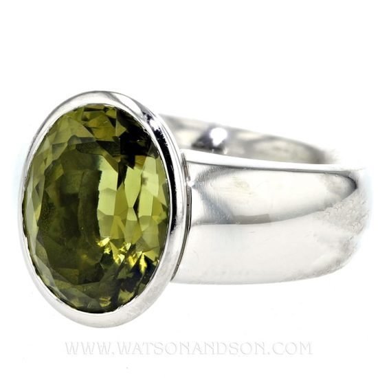 Platinum Green Garnet Ring 2