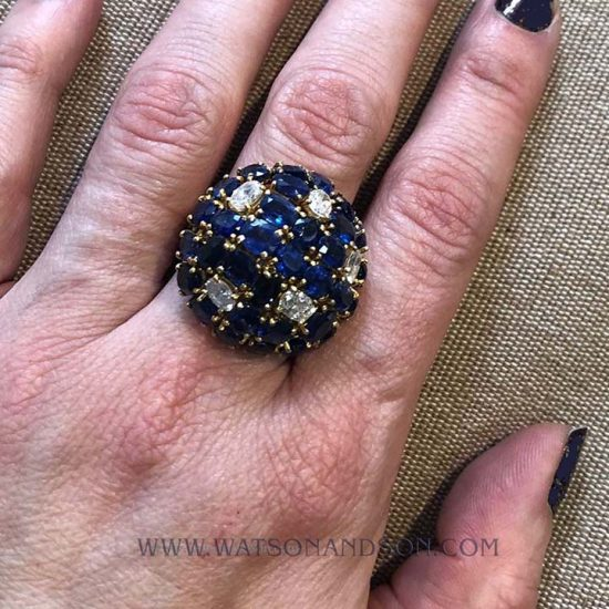 Sapphire And Diamond Dome Ring 3