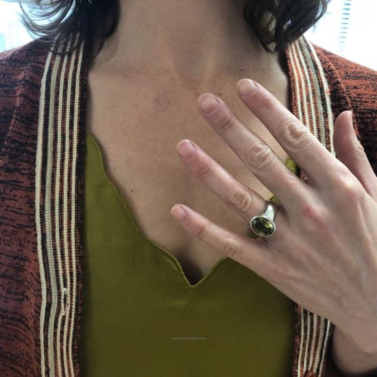 Platinum Green Garnet Ring 6