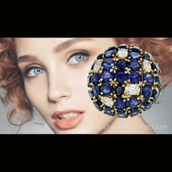 Sapphire And Diamond Dome Ring 6