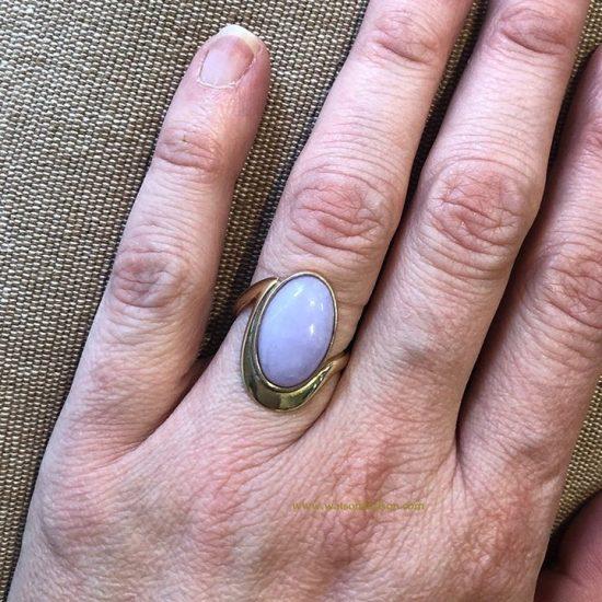 Cabochon Cut Lavender Jade Ring 2