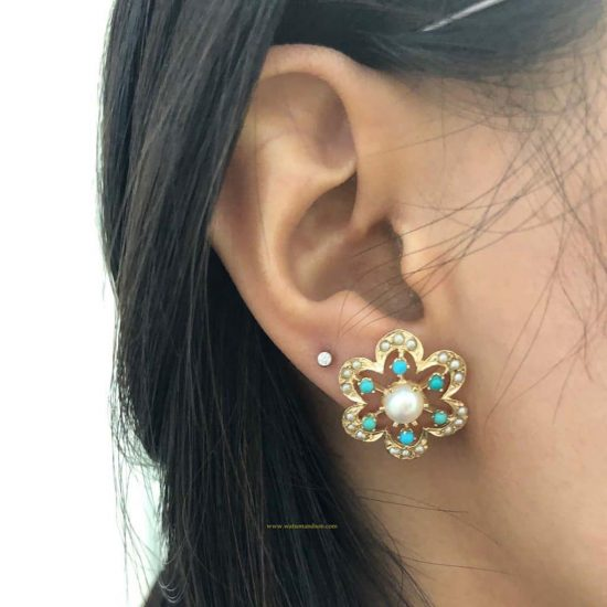 14K Pearl And Turquoise Flower Earrings 3