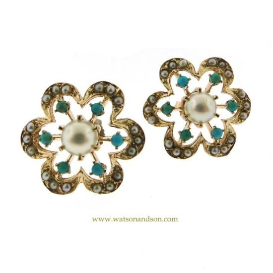 14K Pearl And Turquoise Flower Earrings 1