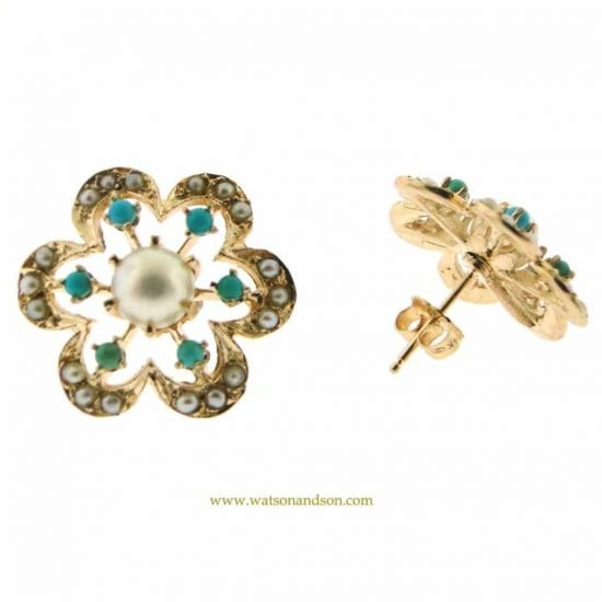 14K Pearl And Turquoise Flower Earrings 2