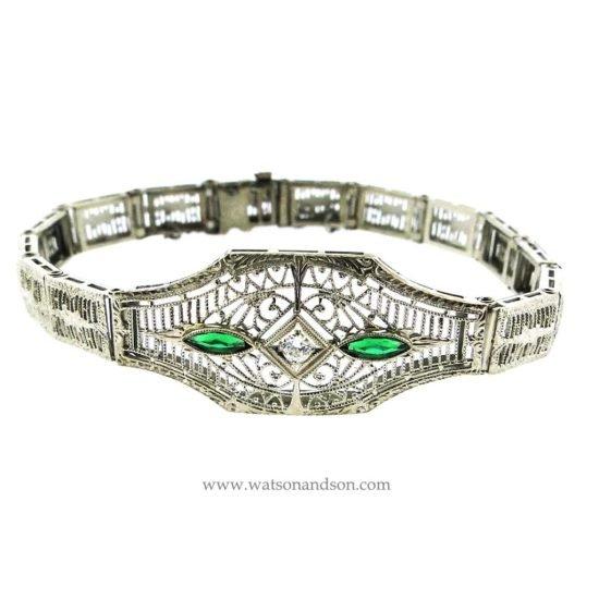 14K White Gold Filigree Bracelet 1
