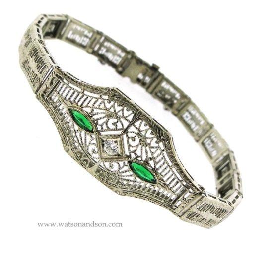 14K White Gold Filigree Bracelet 2