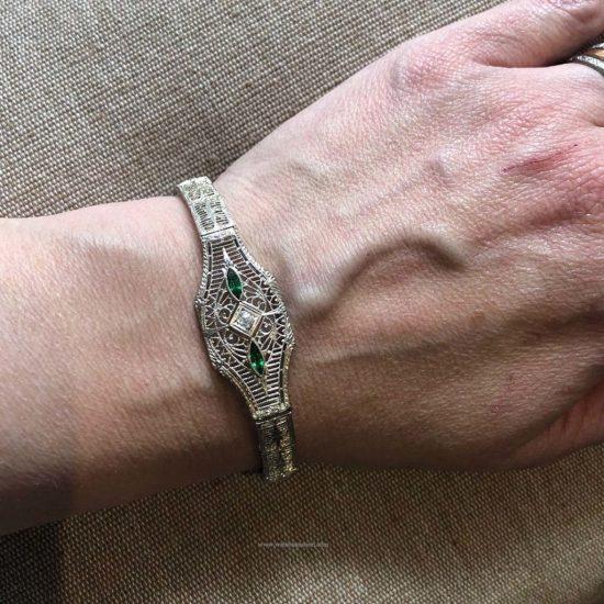 14K White Gold Filigree Bracelet 4