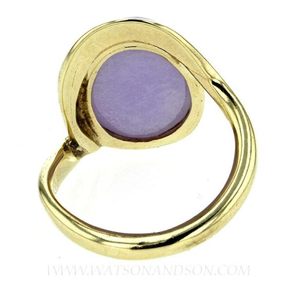Cabochon Cut Lavender Jade Ring 4