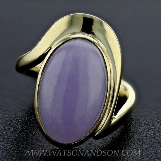Cabochon Cut Lavender Jade Ring 1