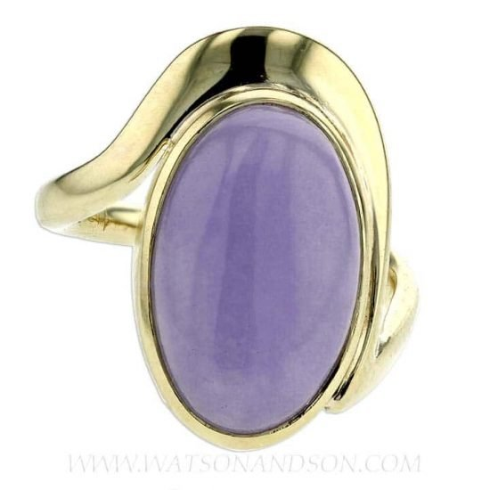 Cabochon Cut Lavender Jade Ring 5