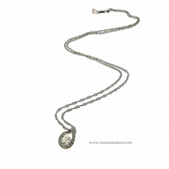 Judith Conway Platinum Teardrop Diamond Pendant 3