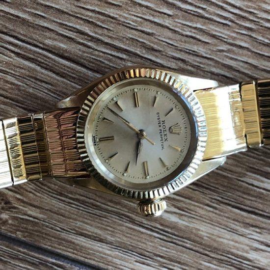 Ladies Yellow Gold Rolex Oyster Bracelet Watch 2
