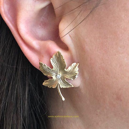14K Oak Leaf Earrings 2