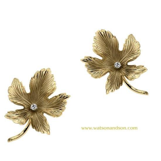 14K Oak Leaf Earrings 3