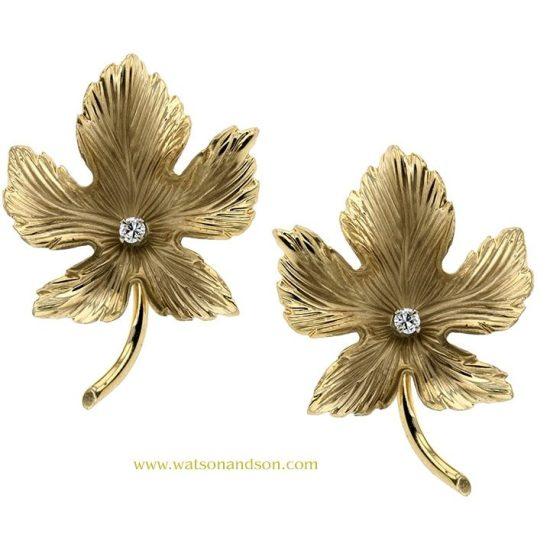 14K Oak Leaf Earrings 1