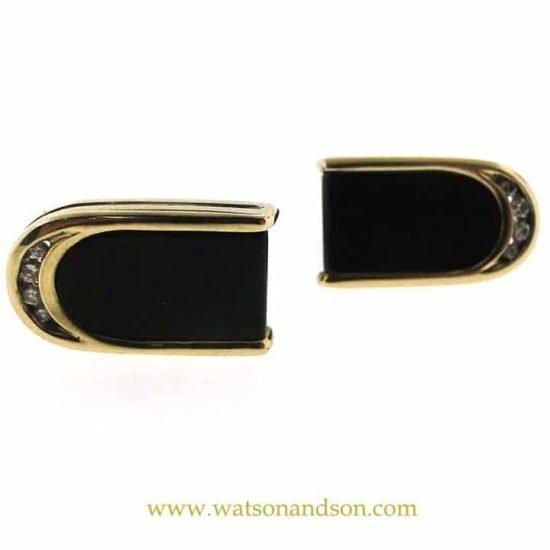14K Yellow Gold Onyx And Diamond Cuff Links 1
