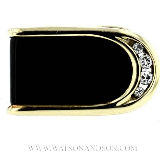14K Yellow Gold Onyx And Diamond Cuff Links 4