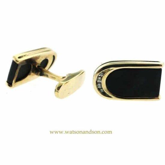 14K Yellow Gold Onyx And Diamond Cuff Links 3