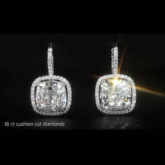 Cushion Cut Diamond Drop Earrings 1