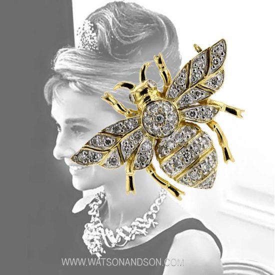Yellow Gold Diamond Bumble Bee Brooch 2