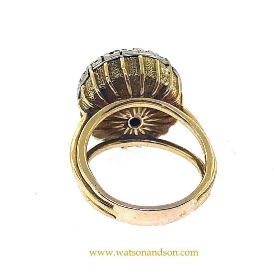 Yellow Gold Onyx &Amp; Diamond Swinger Ring 3