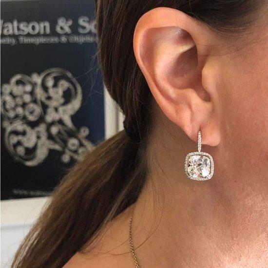 Cushion Cut Diamond Drop Earrings 3