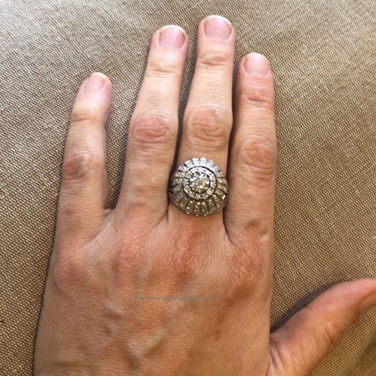 Platinum Diamond Bombe Ring 5