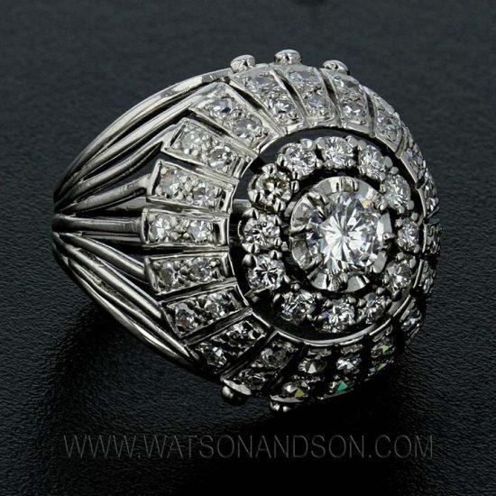 Platinum Diamond Bombe Ring 1