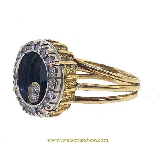 Yellow Gold Onyx &Amp; Diamond Swinger Ring 2