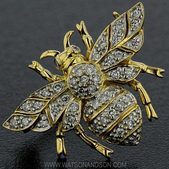 Yellow Gold Diamond Bumble Bee Brooch 1