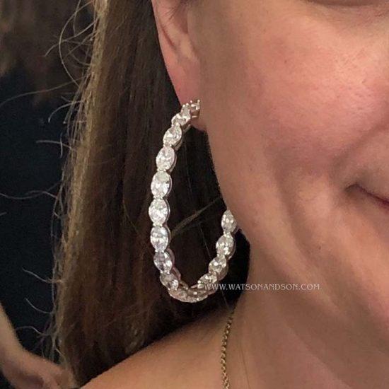 Oval Diamond Inside Out Hoop Earrings 2