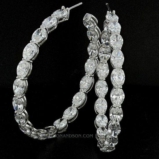 Oval Diamond Inside Out Hoop Earrings 1