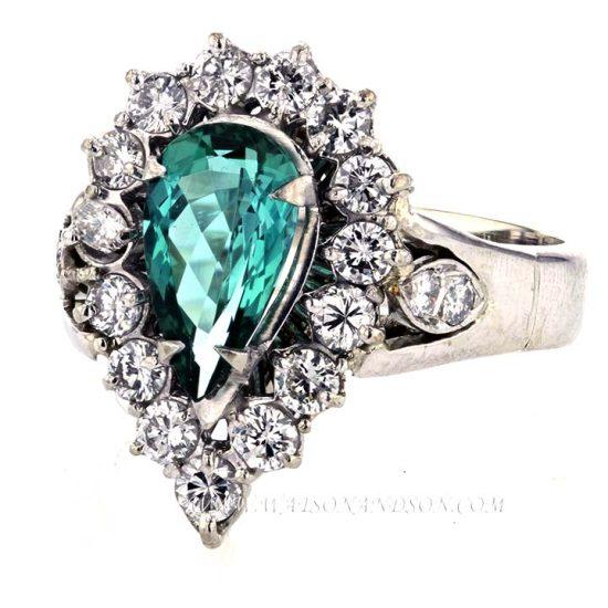 Chrome Tourmaline &Amp; Diamond Cluster Ring 3