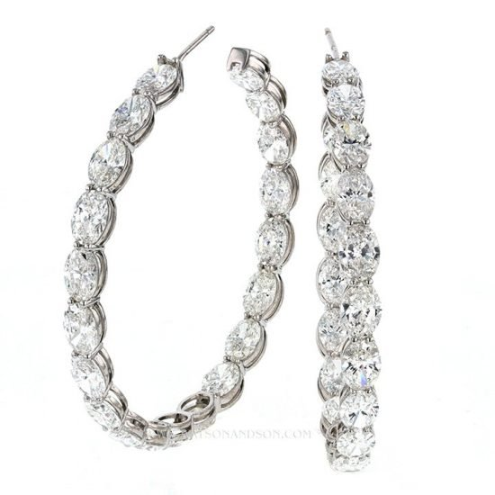 Oval Diamond Inside Out Hoop Earrings 4