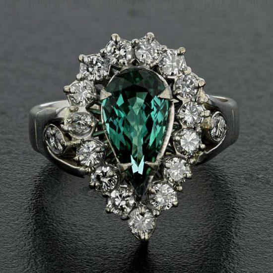 Chrome Tourmaline &Amp; Diamond Cluster Ring 1