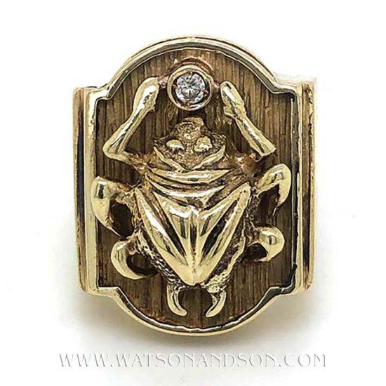 Bold Yellow Gold Scarab Beetle Ring 2