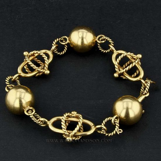 Ball And Rope Gold Bracelet 1