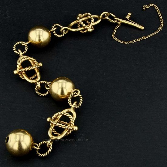 Ball And Rope Gold Bracelet 2