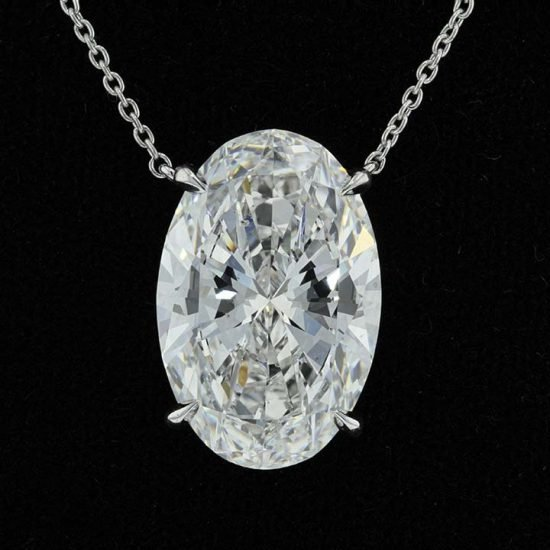 Elegant Oval Diamond Drop Pendant 2