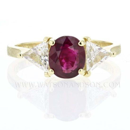 Custom 18K Yellow Gold Ruby And Diamond Ring 1