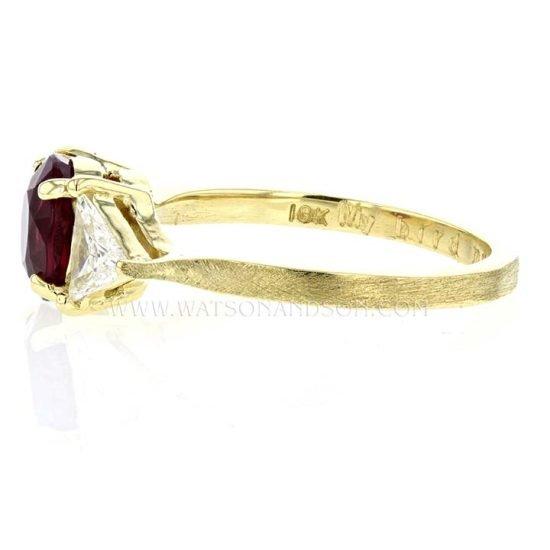 Custom 18K Yellow Gold Ruby And Diamond Ring 2